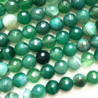 15 Inch Green Agate 4mm Facet Round Beads